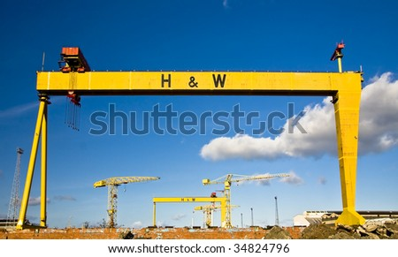 two famous cranes from Belfasts titanic quarter - stock photo