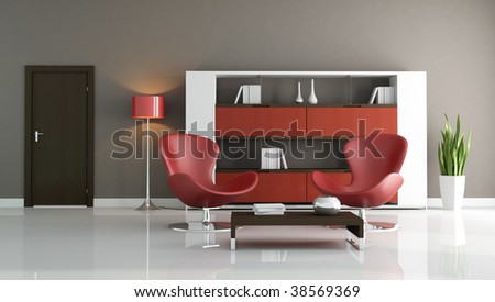 two fashion armchair in a modern living room - rendering - stock photo
