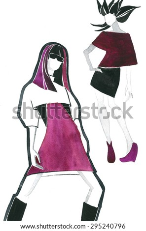 two fashionable girls in a purple and white dress watercolor hand illustration - stock photo