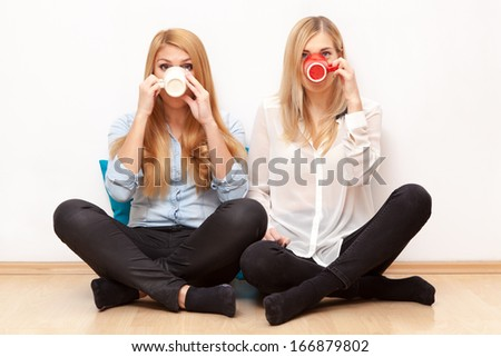 Two female friends drinking coffee and chatting - stock photo