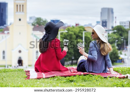 Two female friends drinking together red wine - stock photo