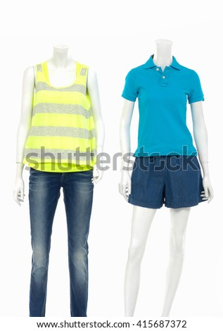 Two female shirt in jeans on full mannequin isolated  - stock photo