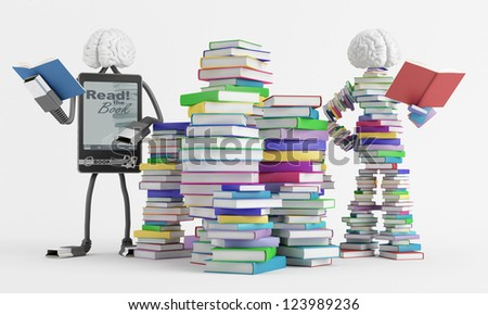 Two fictional characters symbolize reading - stock photo