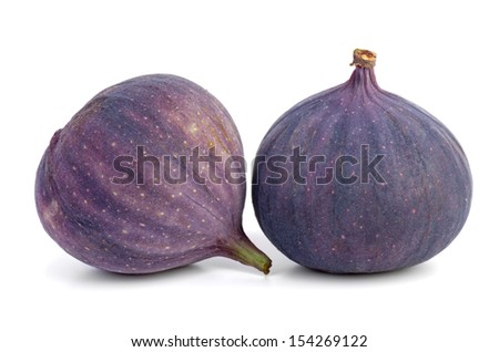 Two figs isolated on white - stock photo