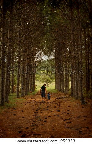 Two figures walking in the forrest - stock photo