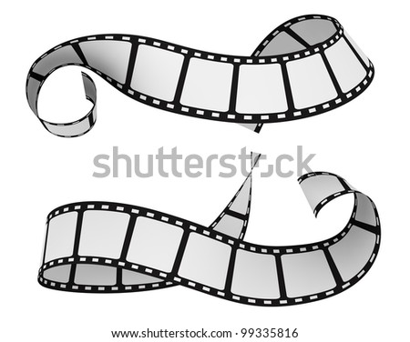 two film strip isolated on white (3d render) - stock photo