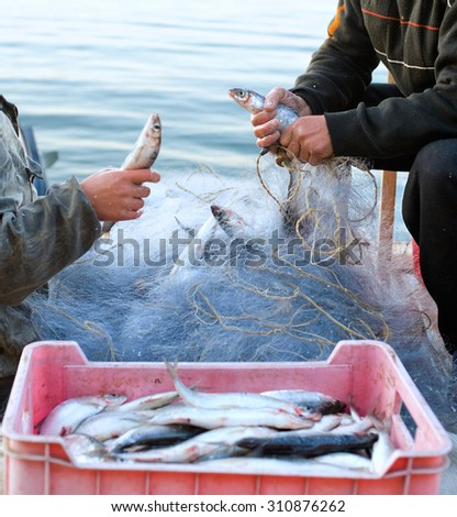 two fishers unload their catch after a morning fishing - stock photo