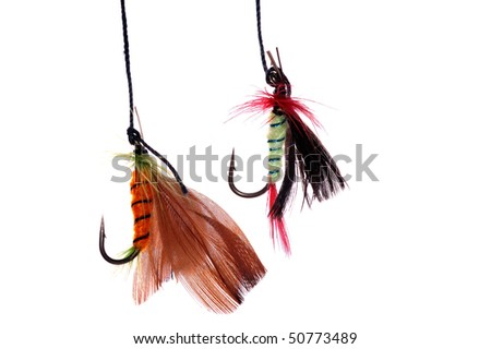 two fishhoks ,isolated - stock photo