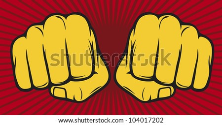 two fists punching - stock photo