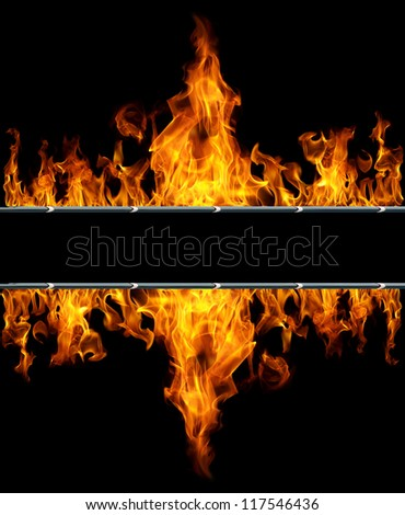 two flames with space for text - stock photo
