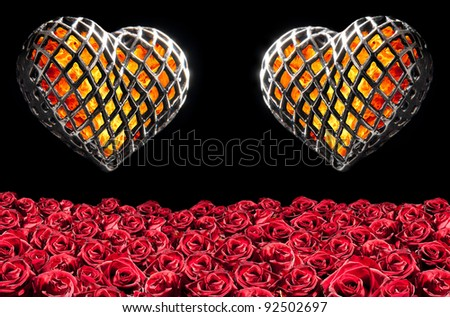 two flaming heart in a cage and roses - stock photo