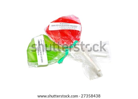Two flavored lollipops containing edible medical cannabis - stock photo