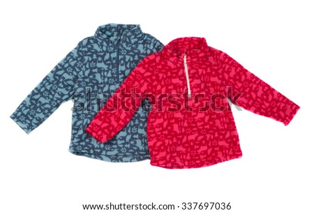 Two fleece jacket, gray and red. Isolate on white. - stock photo