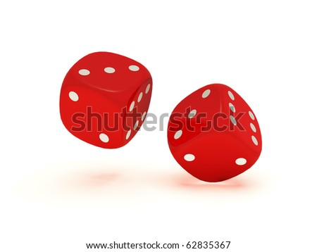 Two floating red dices on a white background. - stock photo