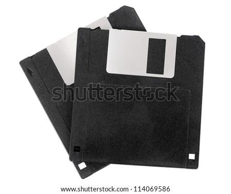 Two floppy disks isolated on white - stock photo