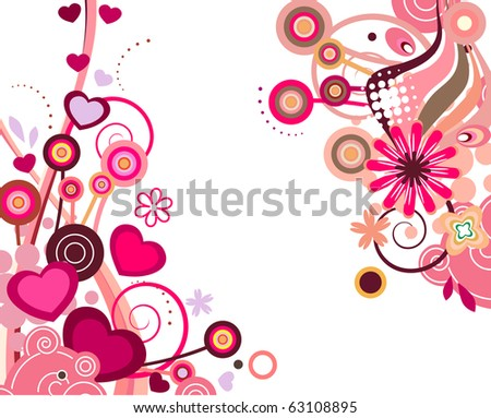 Two floral design elements with flowers and hearts. Raster version. Vector version is in my gallery. - stock photo