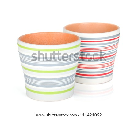 Two flower pots. Isolated on white background - stock photo