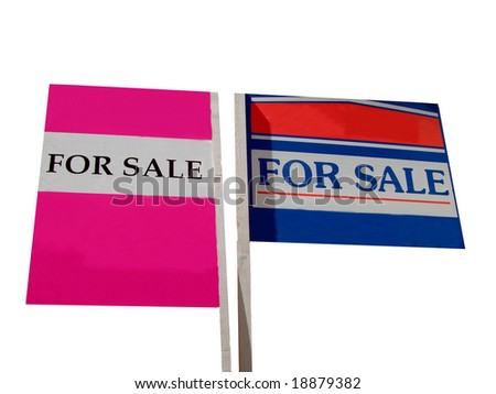 Two for sale signs isolated on white background.