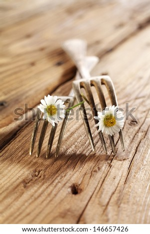 two forks and flowers  - stock photo