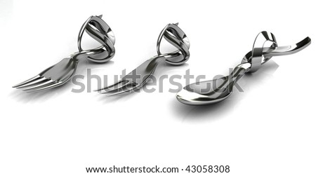 Two forks and one spoon in metal with knot in the handle. - stock photo