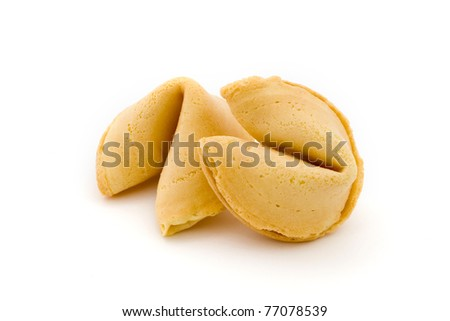 Two fortune cookies isolated on white - stock photo