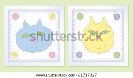 two framed cats in pastel folk art style - stock photo