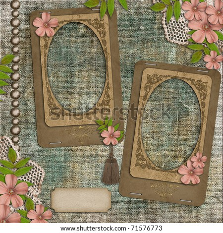 Two frames on vintage background - stock photo