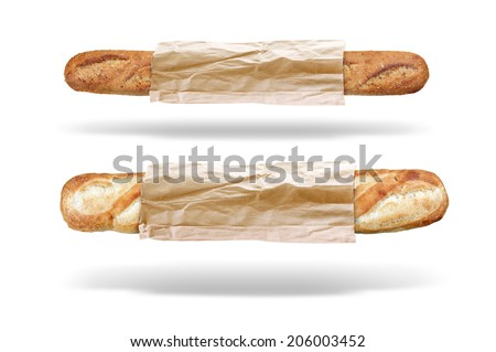 two fresh bread baguettes  in a paper bag isolated  - stock photo
