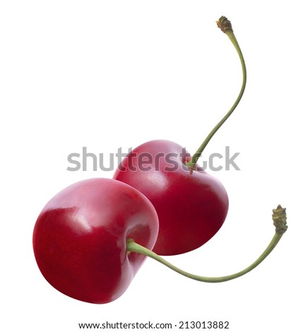 Two fresh cherries separate isolated on white background as package design elements - stock photo
