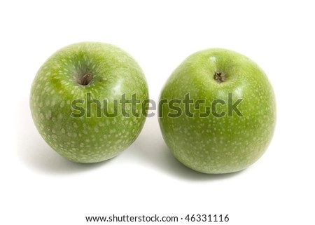 two fresh green apples isolated on white background