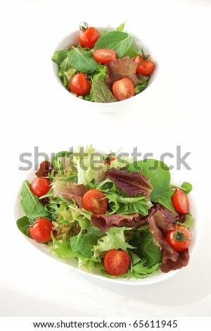 two fresh green salad