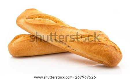 two fresh italian bread on white background - stock photo