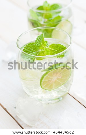 Two fresh mojitos cocktail. Mojitos with mint leaves, lime and ice