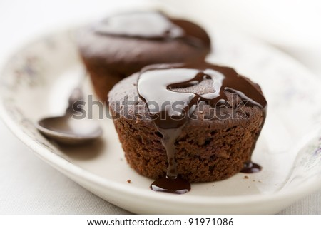 two freshly baked brownie-type sponge cake with chocolate sauce - stock photo