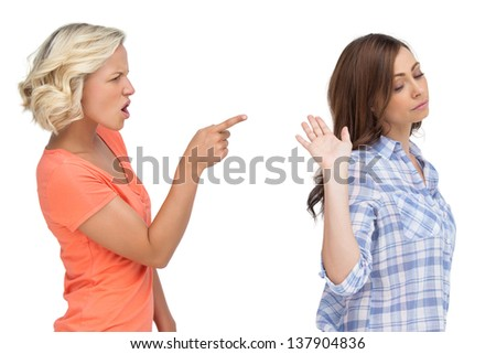 Two friends arguing on white background - stock photo