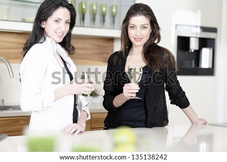Two friends in a kitchen catching up and having a glass of wine.