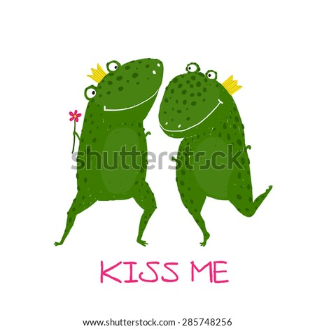 Two Frogs Prince and Princess in Love Kissing. Fairy tale green frogs with crowns presenting flower illustration. Raster variant.  - stock photo