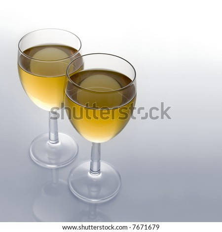 Two Full Wine Glasses with Focus on Front Rim of Closest Glass with Copy Space - stock photo