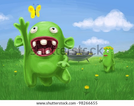 Two funny aliens on the meadow, illustration for children, digital raster painting.