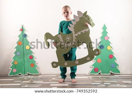 Two Funny Boys Santa Claus Hat Stock Photo Royalty Free 749352592