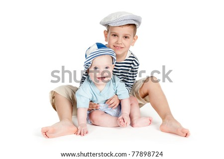 two funny brothers isolated - stock photo