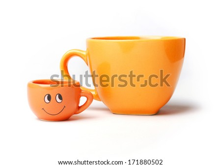 Two funny cups - stock photo