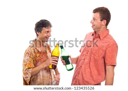 Two funny drunken laughing men with bottle of alcohol, isolated on white background. - stock photo