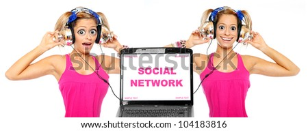Two funny girls listening to music online. Picture with space for your text. - stock photo