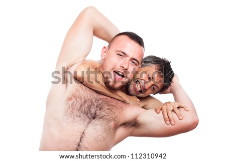 Two funny naked men fighting and wrestling, isolated on white background. - stock photo