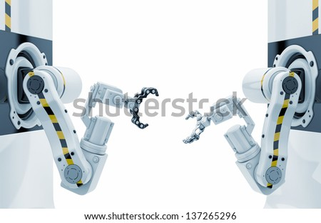Two futuristic automated work tools / Factory rebuild - stock photo