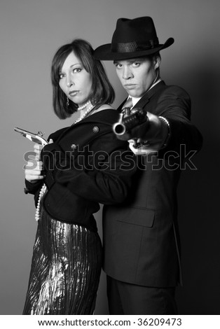 Two gangsters - stock photo