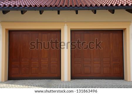 Two Garage Doors - stock photo