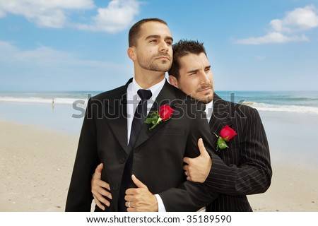 Two gay men after wedding - stock photo