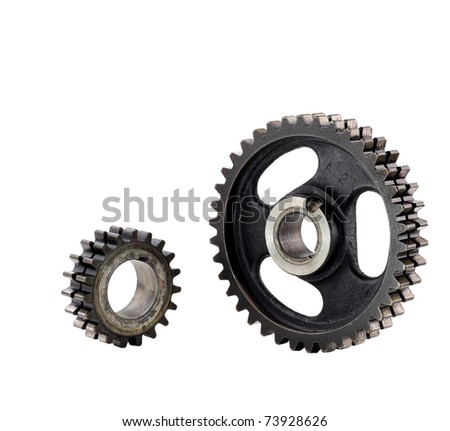two gears from a vintage engine isolated on white with a clipping path